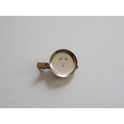 画像1: 丸皿30mm 2Wayクリップブローチ 銀(マット)色