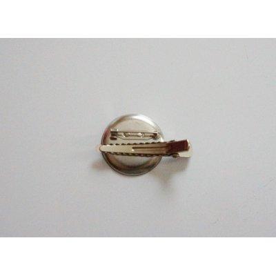 画像2: 丸皿30mm 2Wayクリップブローチ 銀(マット)色